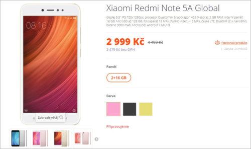 Telefony Xiaomi Redmi Note 5A a Redmi Note 5A Prime v prodeji