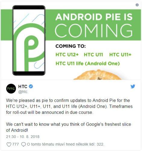 HTC oznámilo, jaké telefony dostanou Android 9.0 Pie