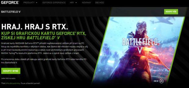 Battlefield V zdarma ke grafickým kartám GeForce RTX + aktuální Game Ready ovladače