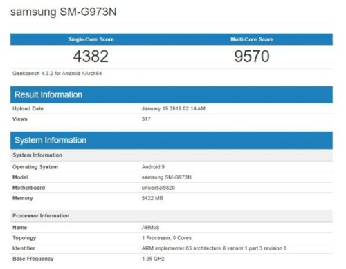 Samsung Galaxy S10 ve výkonnostním testu Geekbench