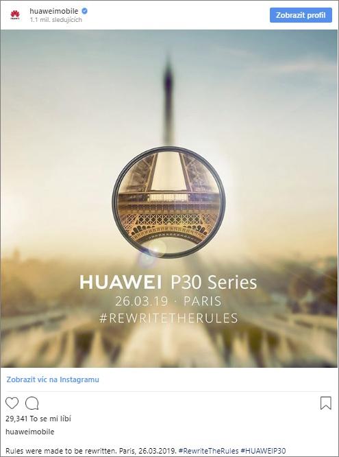 Potvrzeno! Huawei představí telefony P30 a P30 koncem března