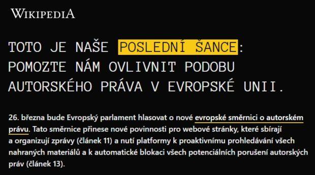 Česká Wikipedie je vypnutá, kvůli protestu o autorském právu