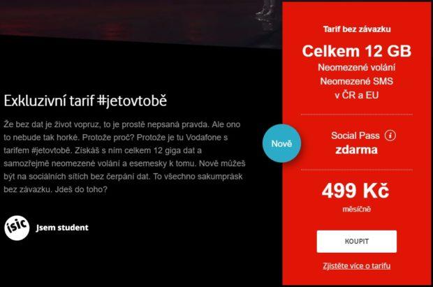 Vodafone vylepšil studentský tarif #jetovtobě