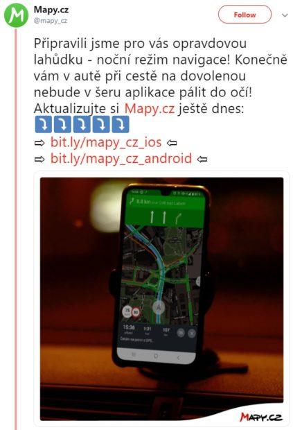 Mapy.cz získávají noční režim navigace