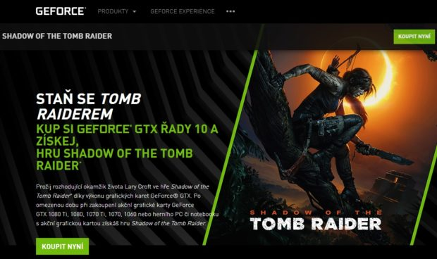 Kupte GeForce GTX a získejte Shadow Of The Tomb Raider zdarma