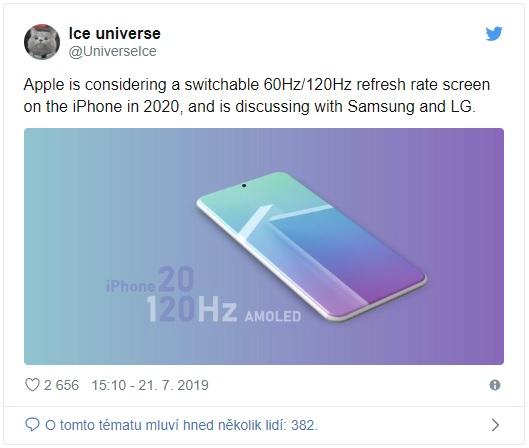 iPhone 12 dostane displej se 120Hz obnovovací frekvencí