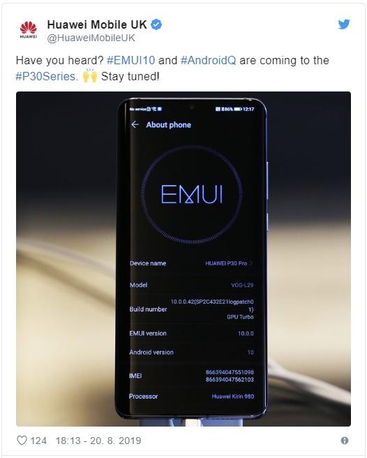 Oficiálně potvrzeno: Huaweie P30(Pro) získají update na Android 10