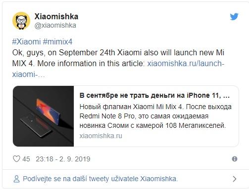Blíží se premiéra Xiaomi Mi Mix 4 se 108Mpx fotoaparátem