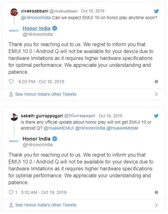 Honor Play nedostane Android 10. Výrobce se vymlouvá na nevýkonný hardware