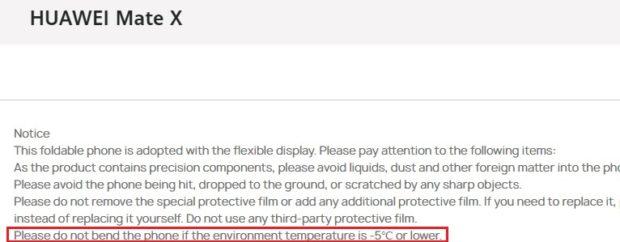 Skládací Mate X v mrazech rozhodně neohýbejte, varuje Huawei