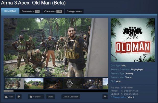 Zahrajte si zdarma rozšíření Arma 3 Apex: Old Man (Beta)