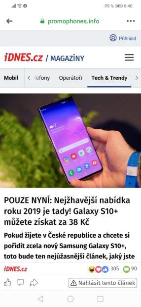 Galaxy S10+ za 25 Kč nebo 1 euro? Samsung varuje před podvodnými nabídkami na internetu