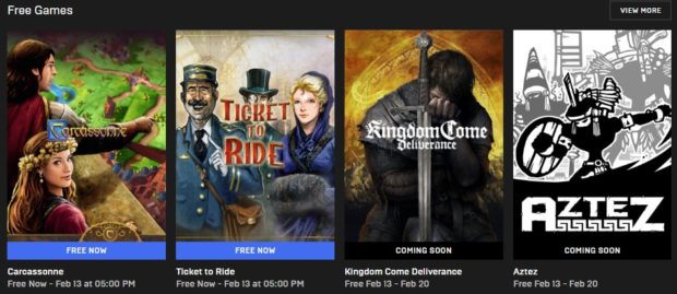 Za týden bude zdarma česká hra na hrdiny Kingdom Come Deliverance. Nyní stahujte Carcassonne a Ticket to Ride