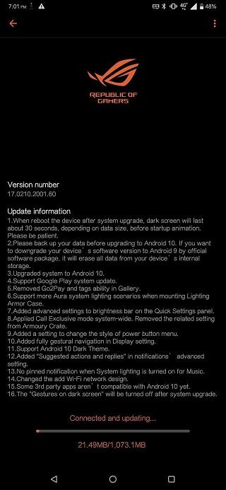 ASUS ROG Phone II získává oficiální Android 10