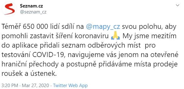 Aplikace Mapy.cz upozorní na výskyt osob s koronavirem v okolí. Do projektu se zapojily statisíce lidí